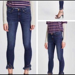 Zara Basic Z1975 Fringe Hem Grommet Denim Jeans